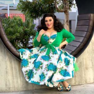 Retrospec'd Sandi Posie Blue Floral Pinup Dress
